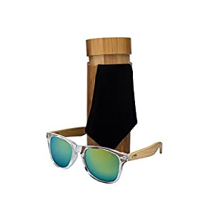Bamboo Wood Frame Sunglasses with Case. Stylish, Lightweight Sunglasses