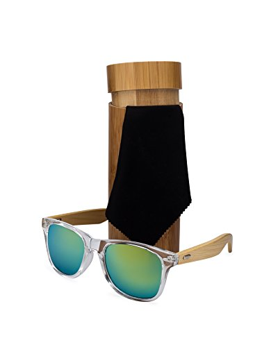 Bamboo Wood Frame Sunglasses with Case. Stylish, Lightweight - Guy Sunglasses