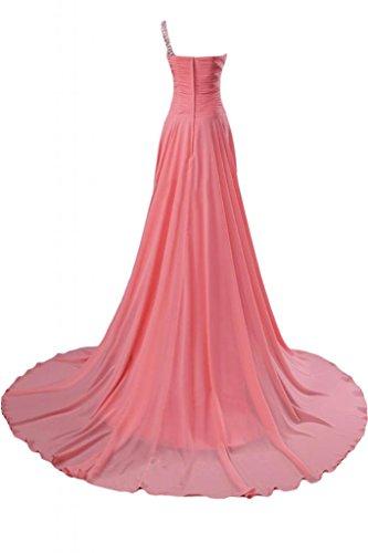 Wassermelone Festkleid A Ein Elegant Schleppe Ballkleid Gorgeous Abendkleid Schulter Chiffon Lang Linie Bride zq7nOSnwf