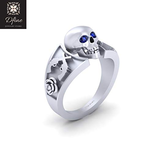 Blue CZ Eyes Gothic Skull Wedding Ring Solid 18k White Gold Cross Guns and Rose Skull Ring