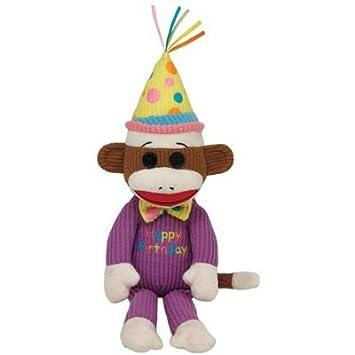 de69f86e3e5 Ty Beanie Babies 7140952 Socks Sock Monkey Happy Birthday 15 cm Brown    Purple  Amazon.co.uk  Toys   Games