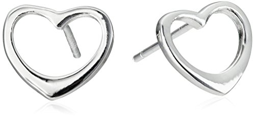Sterling Silver Heart Button Earrings