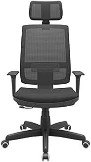 Cadeira Escritório Presidente Brizza NR17 com Mecanismo Relax Assento Crepe Apoio de Cabeça Plaxmetal Preta