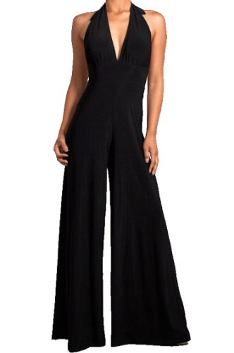Halter Top Jumpsuit - Symphony Women's Halter Style Wide Leg Jumpsuit (S, Black)