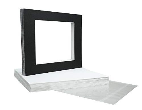 Golden State Art, 20 11x14 Black Mats Matting for 8.5x11 + Backing + Bags