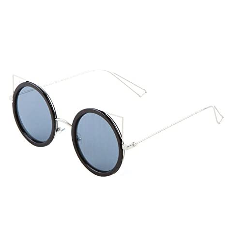 Sunglasses Luxe Metal Round Cat Eye Sunglasses Black Silver Mirror