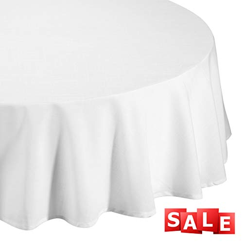 """Lightweight Round Tablecloth Polyester Table Linen - Stain Resistant Washes Easily Great for Christmas New Year Eve Gift Idea Family Dinner Wedding Parties Restaurant Banquet (WHITE, Round 70"""")"""