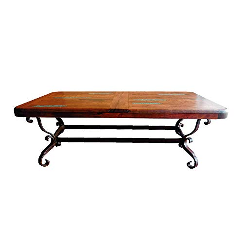 Luxurious Wrought Iron Coffee Table with a Rectangular Mesquite Wood top Embellished with Turquoise Inlay ()