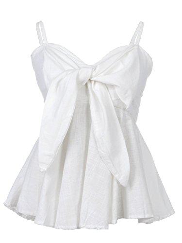 (Anna-Kaci Womens White Sweetheart Neckline Bow Trim Peplum Pleat Waist)