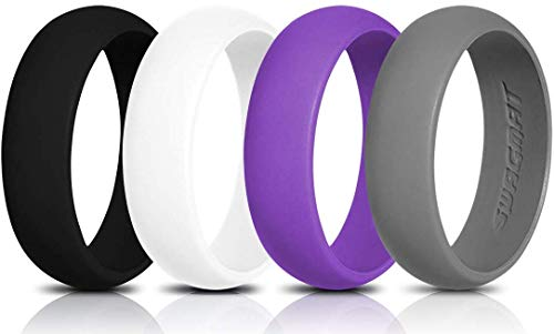 Swagmat Silicone Wedding Rings, 4 Pack Wedding Bands for Women (Black, Medium Gray, White, Purple, 5-5.5)