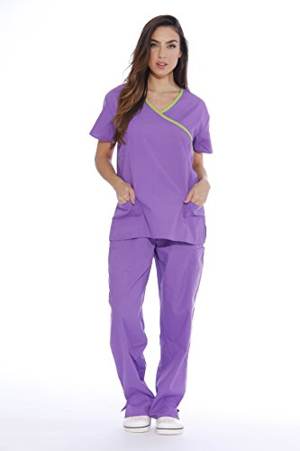 Complements Set - 11144W Just Love Women's Scrub Sets / Medical Scrubs / Nursing Scrubs - XS, Bright Purple with Lime Trim,Bright Purple With Lime Trim,X-Small