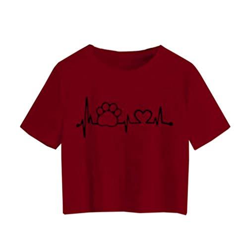 - Sunhusing Ladies Cute Dog Claw Love Heart Pattern Printed T-Shirt Casual Round Neck Short Slim Crop Tops Wine