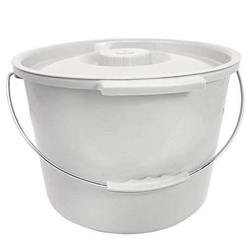 mmode Bucket   12 QT. / 3 Gallons   Includes Lid and Metal Handle   Portable Universal Potty Pail Fits Any Bedside Medical Toilet   Heavy Duty with Side Handles & Odor Seal Cover ()