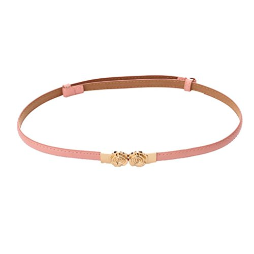 Fashion Women Belt - Kanhan Rose Buckle Leather Waistband - 92 × 1.5cm (Pink) - 92 Automatic Rose