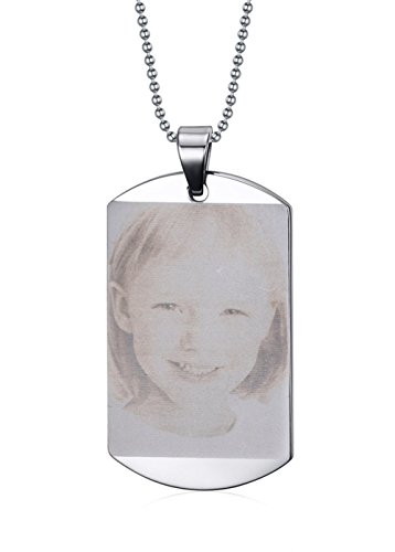 (Mealguet Jewelry Free Engraving Photo Text Custom Your Picture Stainless Steel Dog Tag Pendant Necklace/Personalized for Gift)