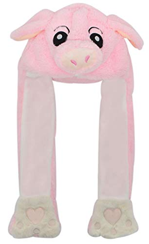 Animal Plush Adorable Winter Hat Cute Fun Warm Furry Cap Soft Novelty Costume One Size Adult&Teen (Pink Pig) -