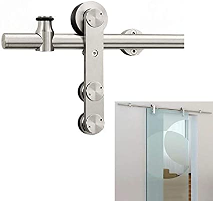 GWXFHT Herraje para Puerta Corredera Kit 3.3ft-12ft Puerta de Vidrio Riel de riel Colgante de Acero Inoxidable - Kit Completo de Hardware, Accesorios de riel de Puerta de Granero Deslizante para baño: