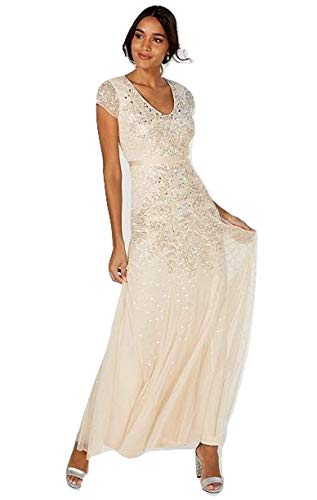 Adrianna Papell Women's Long Beaded Cap-Sleeve Embellished Gown (Almond, 14) (Papell Adrianna Chiffon Gown Beaded)