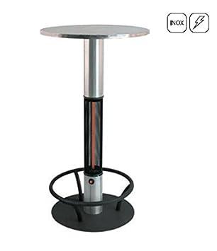 Acero inoxidable Pie mesa Calefacción mesa BISTRO, 1500 W, estufa impermeable IP44 con protector para pata de ideal para los Mercados de Navidad y Catering: ...