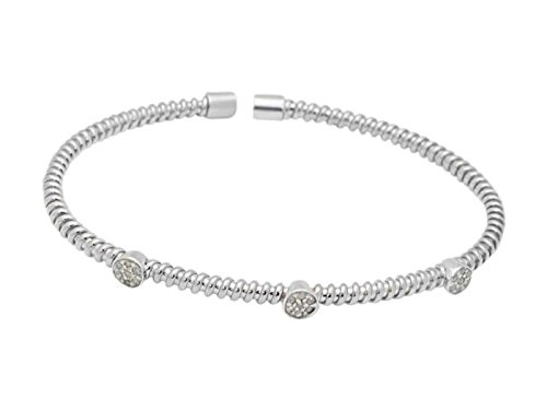 Fronay Co Gunmetal .925 Sterling Silver Twisted Diamond Station Bangle Bracelet (.21Ct, Color K-L, Clarity I2-I3)