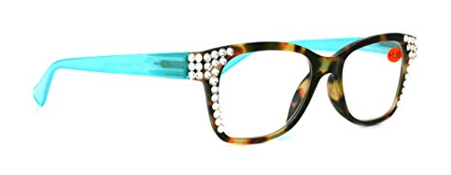 Madison Square, Bling Women Reading Glasses with Clear Swarovski Crystals +1.50 +2.00 +2.50 +3.00 Tortoise Shell Frame and Aqua Blue Temple (Wide Frame)