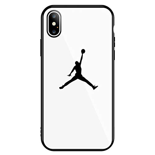1 piece GYKZ Jordan Phone Cases For iPhone XS MAX XR X 7 8 6 6s Plus Luxury Sports Simple Glossy Tempered Glass Back Cover Coque Capa ()