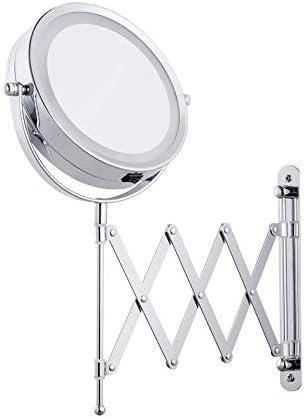 6インチ折りたたみ式化粧鏡3X拡大鏡LED照明付きバニティミラー、ポータブル照明付きバスルームシェービングミラーバスルームとスパ用360°スイベル,B