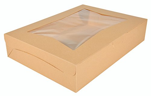Southern Champion Tray 23133K Kraft Paperboard Lock Corner Window Bakery Box, 19