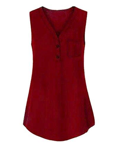 ZhuiKun Shirt sans Manches Rouge Casual Gilets Occasionnels Chemisier Nock Dbardeurs V Femme Creuse T T6gwTf