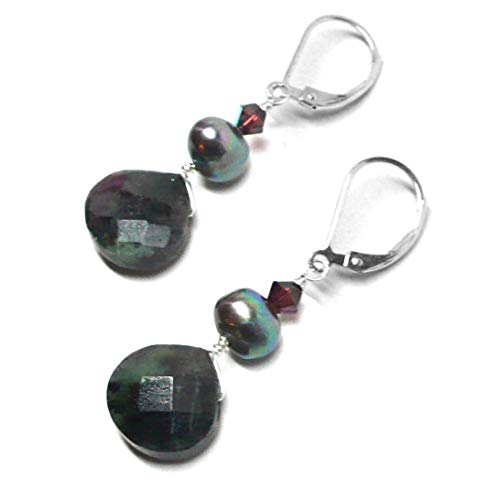 Ruby Briolette Earrings - Ruby in Zoisite Briolette Lever Back Earrings Swarovski Crystal Cultured Freshwater Pearl Sterling Silver