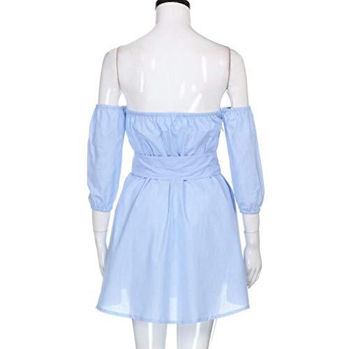 Stripe Off KIMODO Dress Half Womens Long Sleeve Shoulder Blue Top Belted Maxi pptfgqa