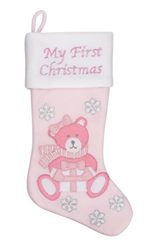 "20"" Baby's First Christmas Teddy Bear Stocking, Girl, Pink (Pink Teddy Bear) (Teddy Bear Christmas Stocking)"