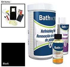 Bathworks DIY QUICK DRY BLACK Bathtub Tile Refinishing Kit w Non-Slip Protection 22 oz FAST 12 hour dry time Tub Tile Wall Surround Sink High Gloss Resin Finish BLACK