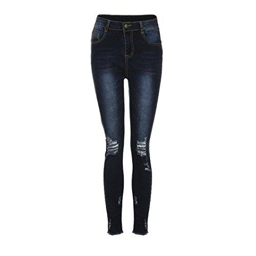 In Pantaloni Ashop Alta Blu Tagliati Donna Skinny Con A Jeans Jeans Vita Elastici Matita Fori Pantaloni watqxp7