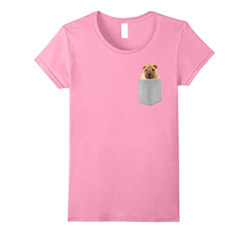 Womens Dog in Your Pocket Chinese Shar-Pei t shirt shirt Large Pink