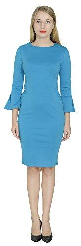 - Marycrafts Womens Flounce Bell Sleeve Office Work Casual Pencil Dress 12 Deep Sky Blue