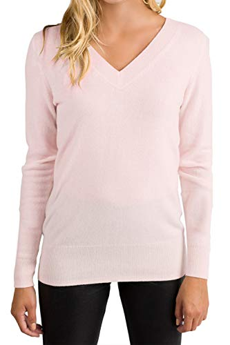 ALBIZIA Women's V-Neck Cashmere Wool Ribbed Knited Pullover Sweaters S Pink ()