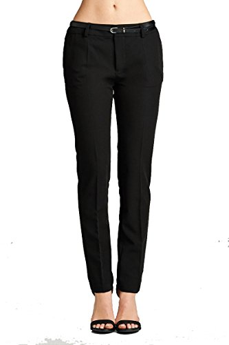 Belted Classic Belt (YourStyle Basic Office Belted Bengaline Stretch Pants,Twill Pants, Classic Woven Pants W/ Belt (X-Large,)