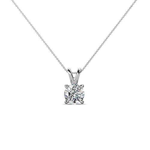 TriJewels AGS Certified Diamond Solitaire Pendant (I1, F-G) 0.46 ctw 14K White Gold with 18