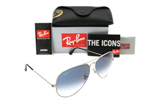 (Ray Ban Aviator 3025 RB3025 003/3f 55mm Silver Frame w/ Blue Gradient Lens Small)