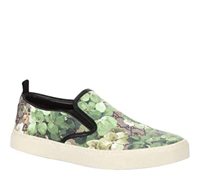 ea0d961d9b31b6 Amazon.com  Gucci Bloom Flower Print Supreme GG Green Canvas Slip Sneakers  407362 8961  Shoes
