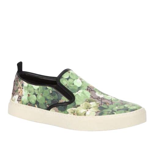 Gucci Bloom Flower Print Supreme GG Green Canvas Slip Sneakers 407362 8961 (8 G / 9 US)