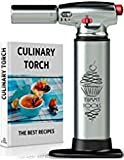 BEST CULINARY TORCH - Chef Torch for Cooking Crème Brulee - Aluminum Hand Butane Kitchen Torch - Blow Torch with Adjustable Flame - Cooking Torch - Perfect for Baking, BBQs, Crafts + Recipe eBook
