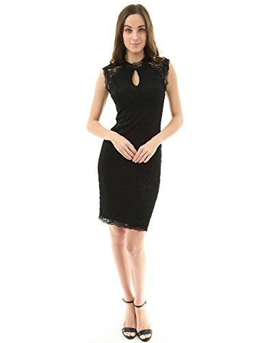 - PattyBoutik Women Sleeveless Keyhole Floral Lace Sheath Dress (Black Small)