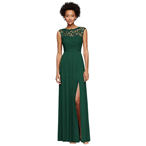 Long Bridesmaid Dress with Lace Bodice Style F19328, Juniper, 16