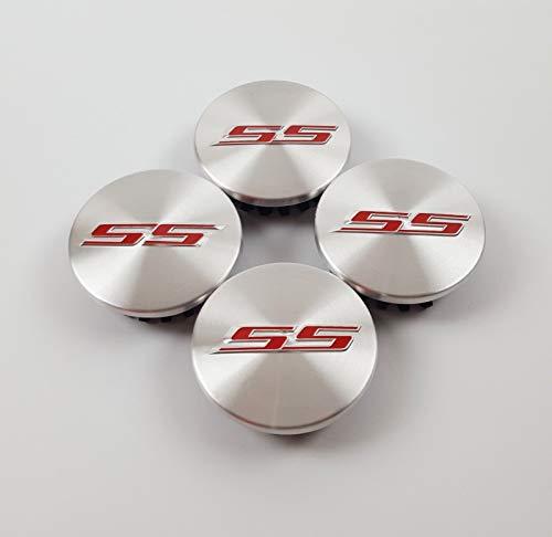 Coolandi CS65S 4X Silver Red SS Camaro Emblem Car Wheel Center Rim Hub Cap for Chevy 2.2'' Diameter Camaro Ss Wheel Emblems