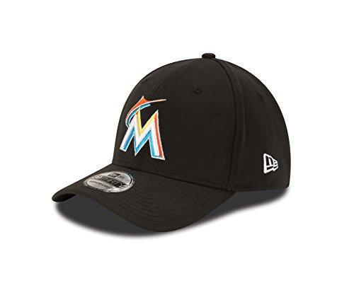 buy popular 336fa 7c4ef New Era MLB Miami Marlins Junior Team Classic Home 39Thirty Stretch Fit Cap,  Black,