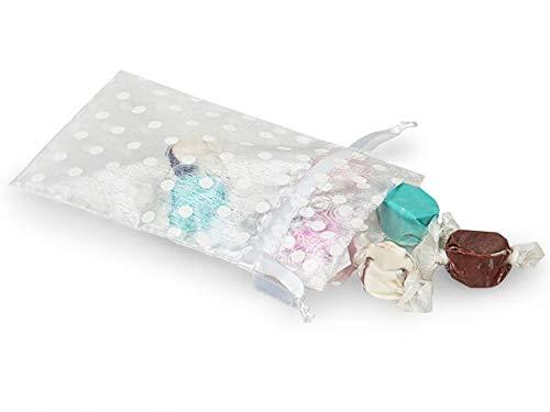 Sheer Printed Polka Dot Organza Bags- White & White Dots 4x6 Polka Dot Organza Bags (9 Packs; 10 Bags Per Pack) - WRAPS-B52201
