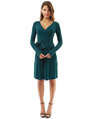 - PattyBoutik Women V Neck Faux Wrap Long Sleeve Knit Dress (Teal Medium)