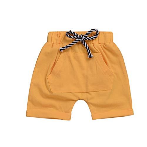 BeautyVan Toddler Baby Boys Girls Casual Pocket Elastic Waistband Beach Shorts Summer Pants (12-18 Months, Yellow) ()